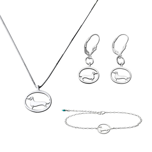 Dachshund Necklace, Bracelet and Dangle Earrings SET - Silver |Line Oval - WeeShopyDog