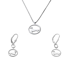 Load image into Gallery viewer, Dachshund Necklace and Dangle Earrings SET - Silver |Line Oval - WeeShopyDog
