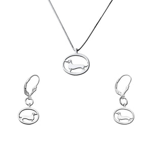Dachshund Necklace and Dangle Earrings SET - Silver |Line Oval - WeeShopyDog