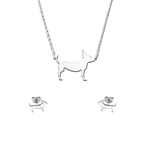 Chihuahua Line SET - Silver Necklace and Stud Earrings -WeeShopyDog
