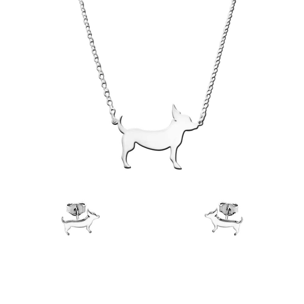 Chihuahua Necklace and Stud Earrings SET - Silver |Line - WeeShopyDog