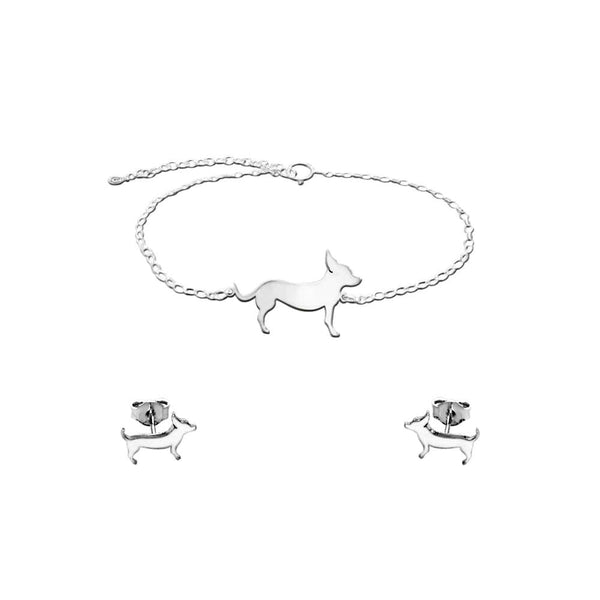 Chihuahua Line SET - Silver Bracelet and Stud Earrings -WeeShopyDog