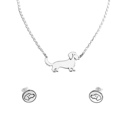 Dachshund Wire Haired Necklace and Stud Earrings SET - Silver - WeeShopyDog