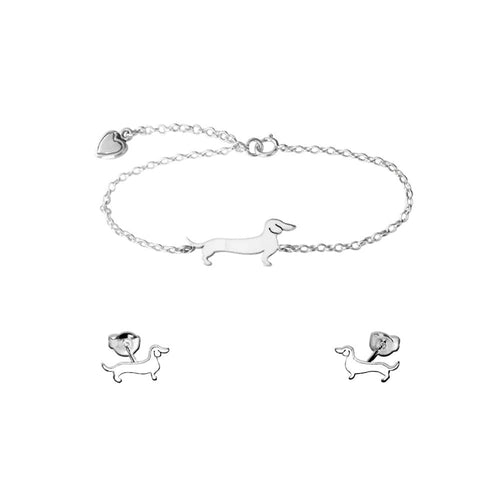 Dachshund Line SET - Silver Bracelet and Stud Earrings - WeeShopyDog