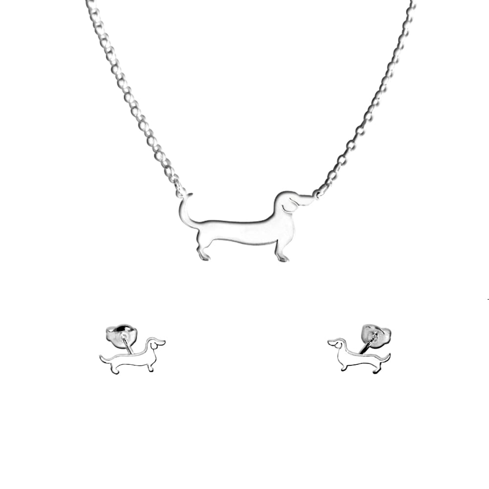 Dachshund Necklace and Stud Earrings SET - Silver/14K Gold-Plated |Line - WeeShopyDog