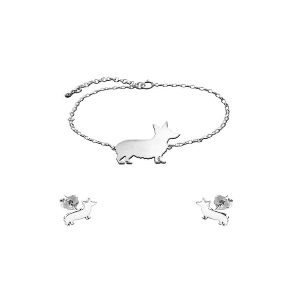 Corgi Line SET - Silver Bracelet and Stud Earrings - WeeShopyDog