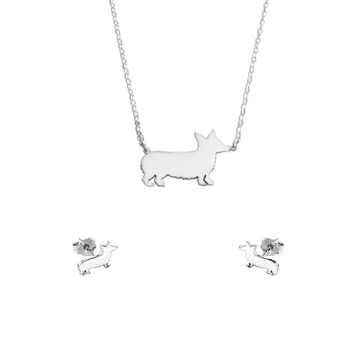 Corgi Necklace and Stud Earrings SET - Silver/14K Gold-Plated |Line - WeeShopyDog