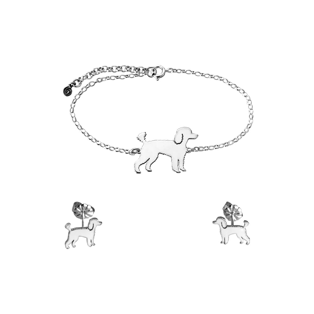 Poodle Bracelet and Stud Earrings SET - Silver/14K Gold-Plated |Line - WeeShopyDog