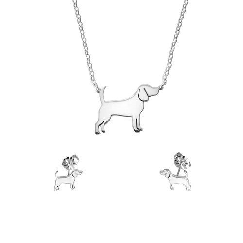 Beagle Necklace and Stud Earrings SET - Silver/14K Gold-Plated |Line - WeeShopyDog
