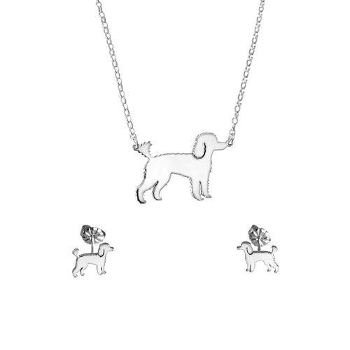 Poodle Necklace and Stud Earrings SET - Silver/14K Gold-Plated |Line - WeeShopyDog