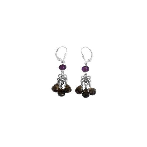 Boho Chandelier  - Silver Amethyst and Smoky Quartz - Dangle Leverback Earrings - WeeShopyDog