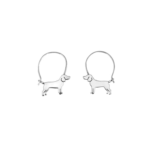 Beagle Hoop Earrings - Silver |Line - WeeShopyDog