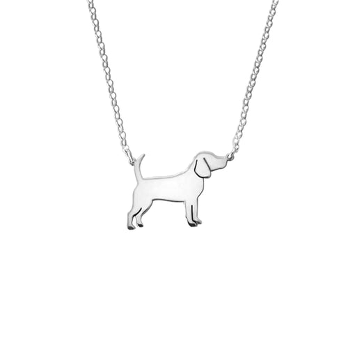 Beagle Pendant Necklace - Silver/14K Gold-Plated |Line - WeeShopyDog