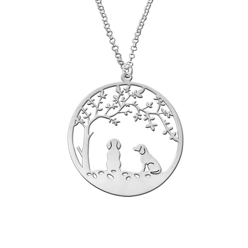Beagle Tree Of Life Pendant Necklace - Silver/14K Gold-Plated - WeeShopyDog