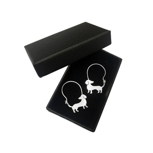 Dachshund Hoop Earrings - Silver/14K Gold-Plated |Beauty - WeeShopyDog
