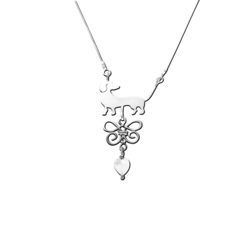 Dachshund Beauty Butterfly - Silver Pendant Necklace - WeeShopyDog