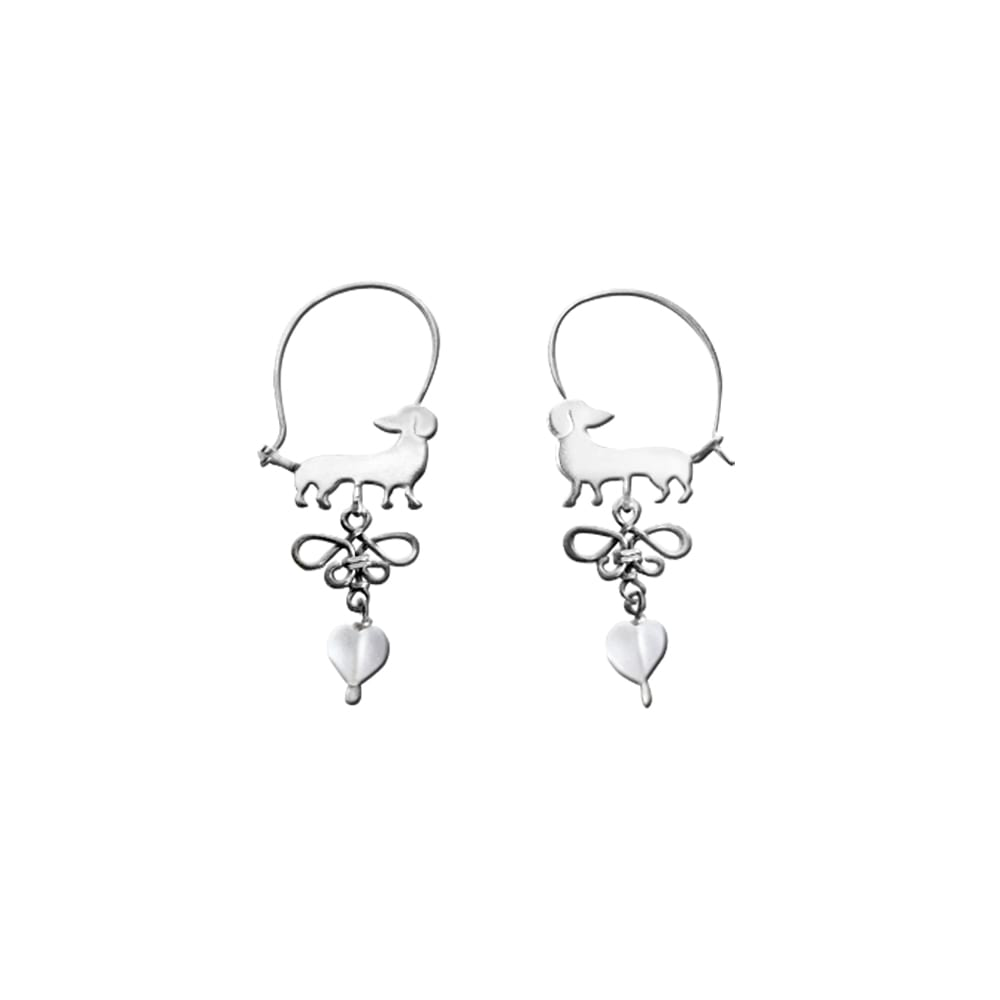 Dachshund Beauty Butterfly - Silver Hoop Earrings - WeeShopyDog