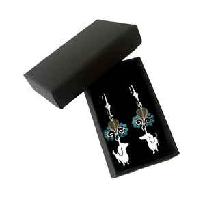 Dachshund Dangle Leverback Earrings - Silver Turquoise |I - WeeShopyDog