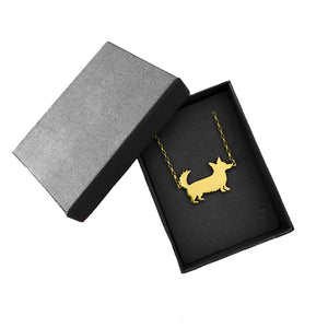 Cardigan Corgi Pendant Necklace- 14K Gold Plated - WeeShopyDog