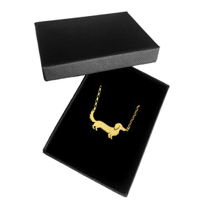 Long Haired Dachshund Pendant Necklace - Silver/14K Gold-Plated
