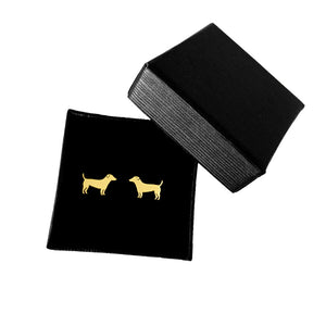 Jack Russell Stud Earrings - 14K Gold-Plated Stud - WeeShopyDog