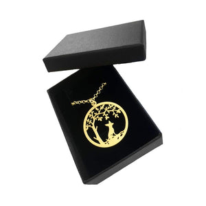 Chihuahua Little Tree Of Life Pendant Necklace - Silver/14K Gold-Plated - WeeShopyDog