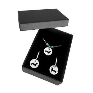 Dachshund Necklace and Hoop Earrings SET - Silver |Line Circle - WeeShopyDog