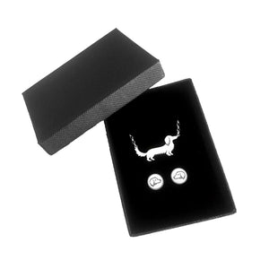Dachshund Long Haired Necklace and Stud Earrings SET - Silver - WeeShopyDog