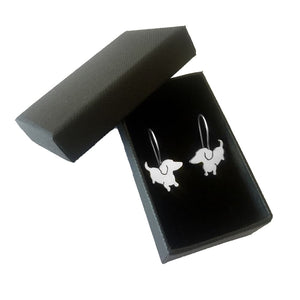 Dachshund Drop Earrings - Silver |Up - WeeShopyDog