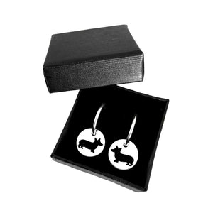 Corgi Hoop Dangle Earrings - Silver - WeeShopyDog