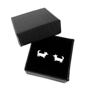 Cardigan Corgi Earrings - Silver Studs - WeeShopyDog