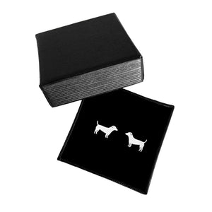 Jack Russell Stud Earrings - Silver - WeeShopyDog