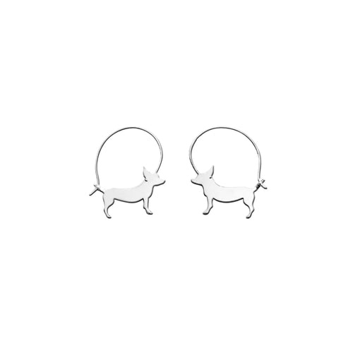 Chihuahua Line - Silver Hoop Earrings - WeeShopyDog