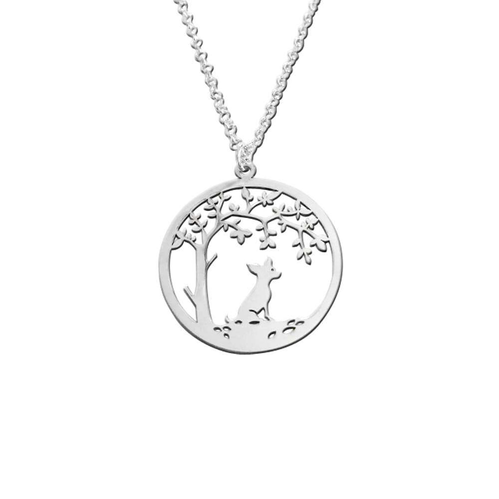 Chihuahua Little Tree Of Life - Silver Pendant Necklace - WeeShopyDog