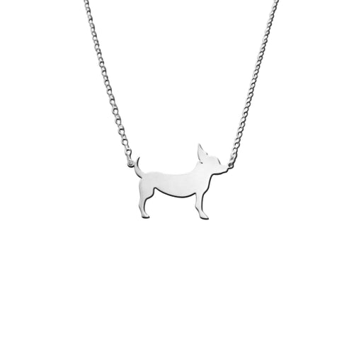 Chihuahua Line - Silver Pendant Necklace - WeeShopyDog