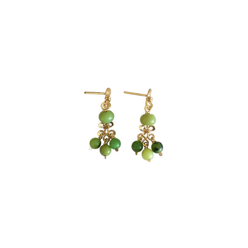 Boho Chandelier  - 14K Gold Filled and Chrysoprase - Dangle Stud Earrings - WeeShopyDog