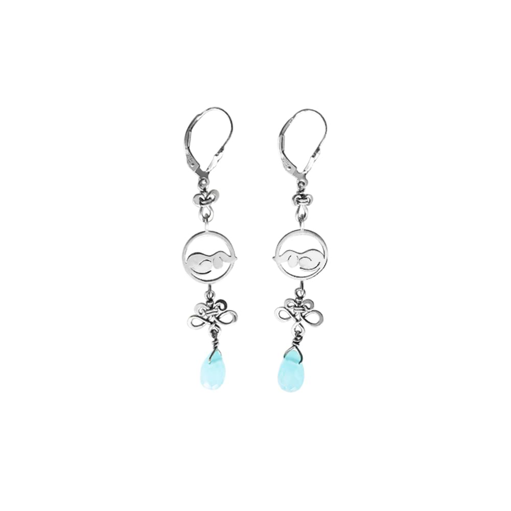 Dachshund Dangle Earrings - Silver and Ocean Quartz |Dog Circle - WeeShopyDog