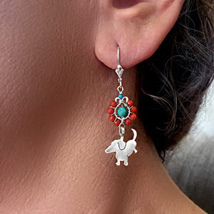 Dachshund Dangle Leverback Earrings - Silver Coral Turquoise |Up - WeeShopyDog