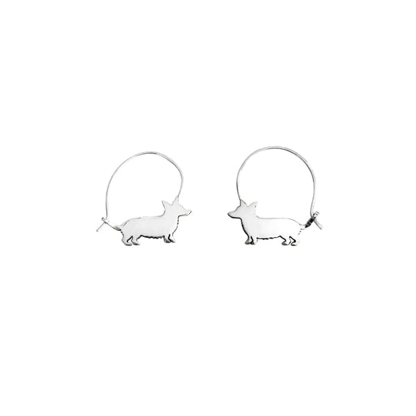 Corgi Line - Silver Hoop Earrings - WeeShopyDog