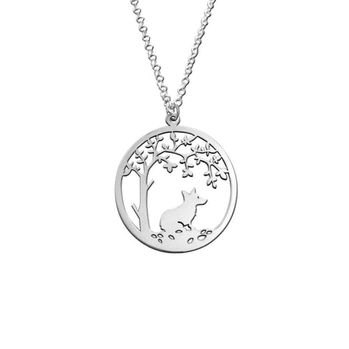 Corgi Little Tree Of Life Pendant Necklace - Silver/14K Gold-Plated - WeeShopyDog
