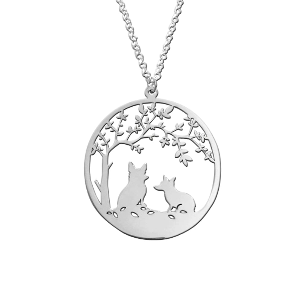 Corgi Tree Of Life - Silver Pendant Necklace - WeeShopyDog