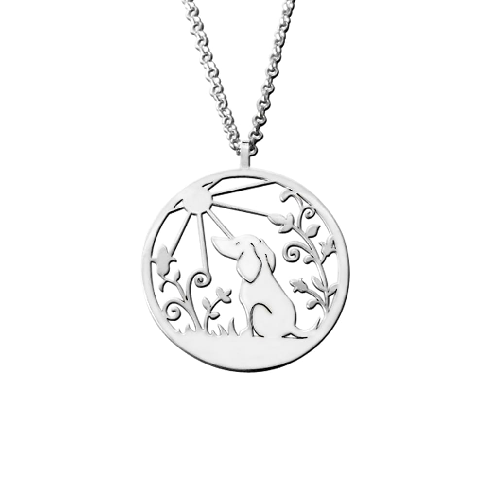 Dachshund Sunshine Pendant Necklace - Silver/14K Gold-Plated - WeeShopyDog