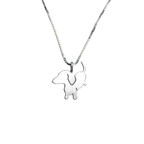 Dachshund Pendant Necklace - Silver/14K Gold-Plated |Up - WeeShopyDog