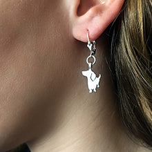 Load image into Gallery viewer, Dachshund Dangle Leverback Earrings - Silver |I - WeeShopyDog