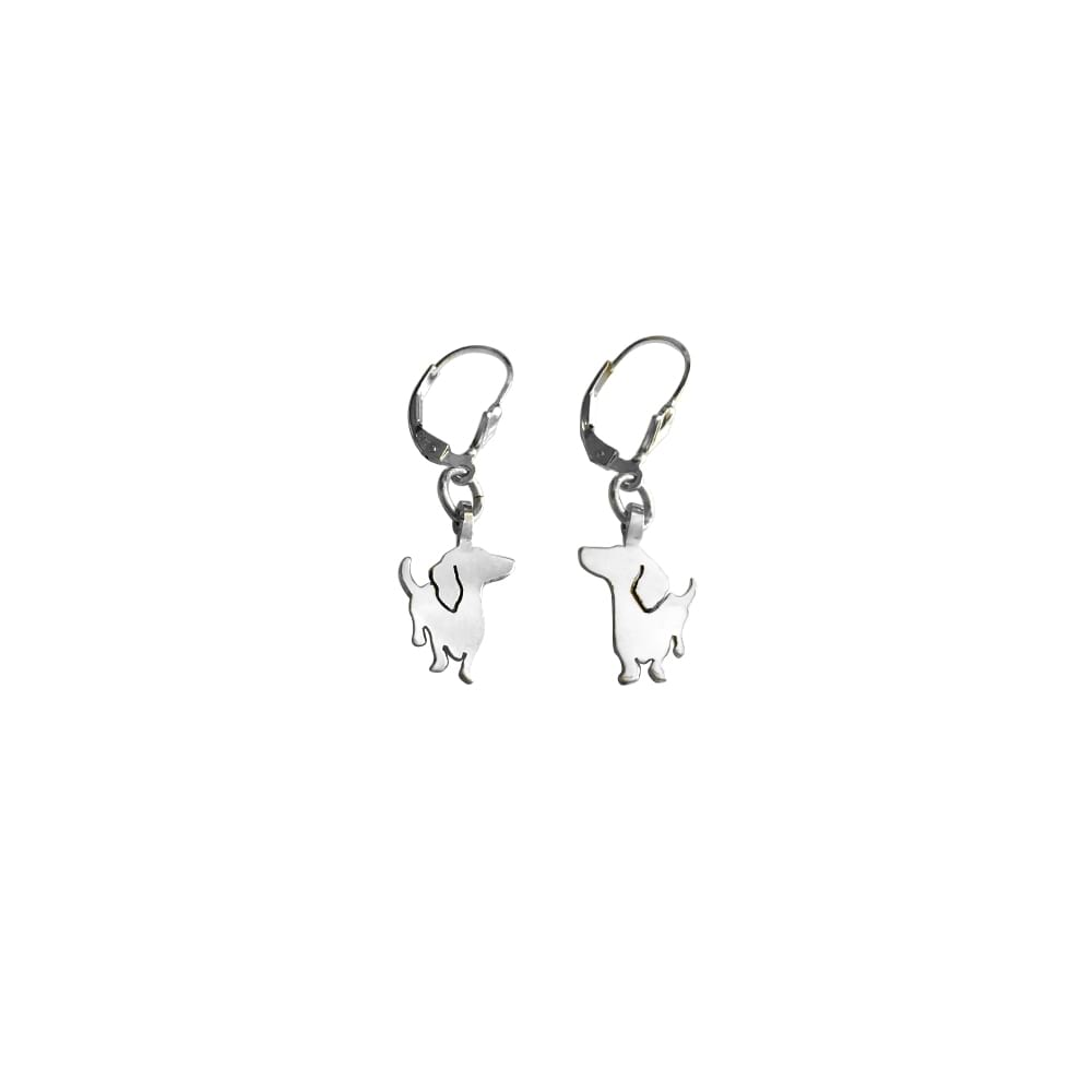 Dachshund - Silver Dangle Leverback Earrings - WeeShopyDog