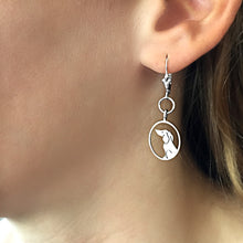Load image into Gallery viewer, Dachshund Dangle Leverback Earrings - Silver |Image - WeeShopyDog