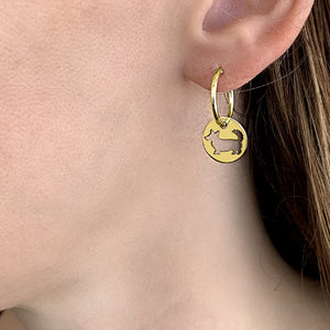 Cardigan Corgi Hoop Earrings - 14K Gold Plated Charm - WeeShopyDog