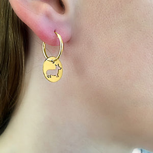 Corgi Hoop Dangle Earrings - 14K Gold-Plated - WeeShopyDog