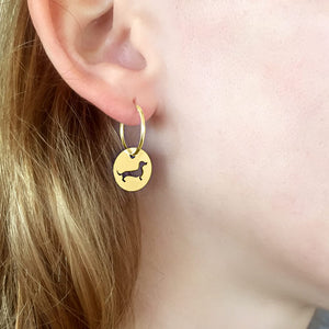 Dachshund Hoop Dangle Earrings - Silver/14K Gold-Plated |Line Circle - WeeShopyDog