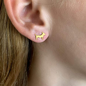 Chihuahua Stud Earrings - Silver/14K Gold-Plated |Line - WeeShopyDog